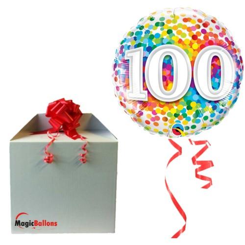 100 Rainbow Confetti - Folienballon in Paket