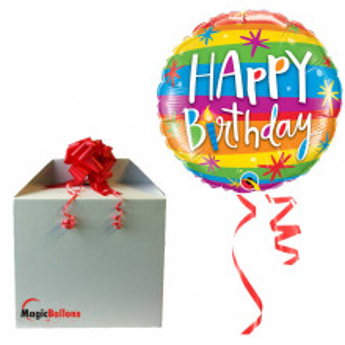 Bday Rainbow Stripes - Folienballon in Paket