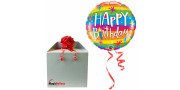 Bday Rainbow Stripes - foil balloon in a package