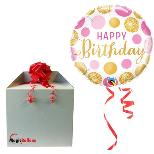 Bday Pink & Gold Dots - Folienballon in Paket