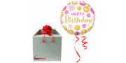 Bday Pink & Gold Dots - foil balloon in a package