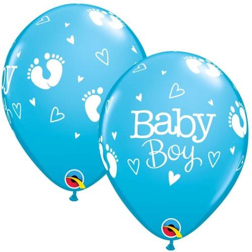 Balloon Baby Boy Footprints & Hearts