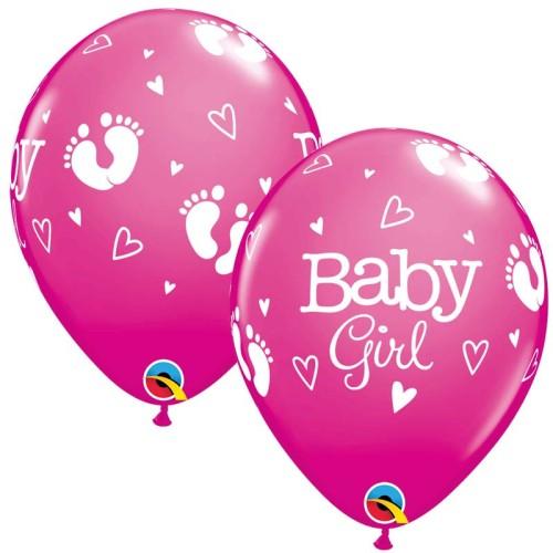 Balloon Baby Girl Footprints & Hearts