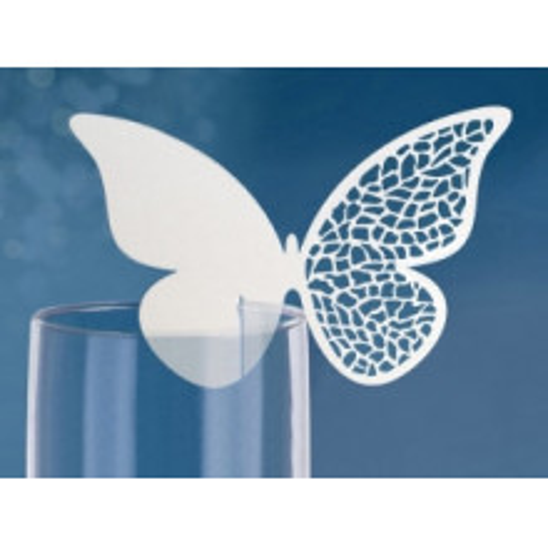 Bel metulj z laserskim izrezom
