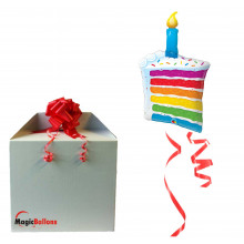 Rainbow Cake & Candle - Folienballon in Paket