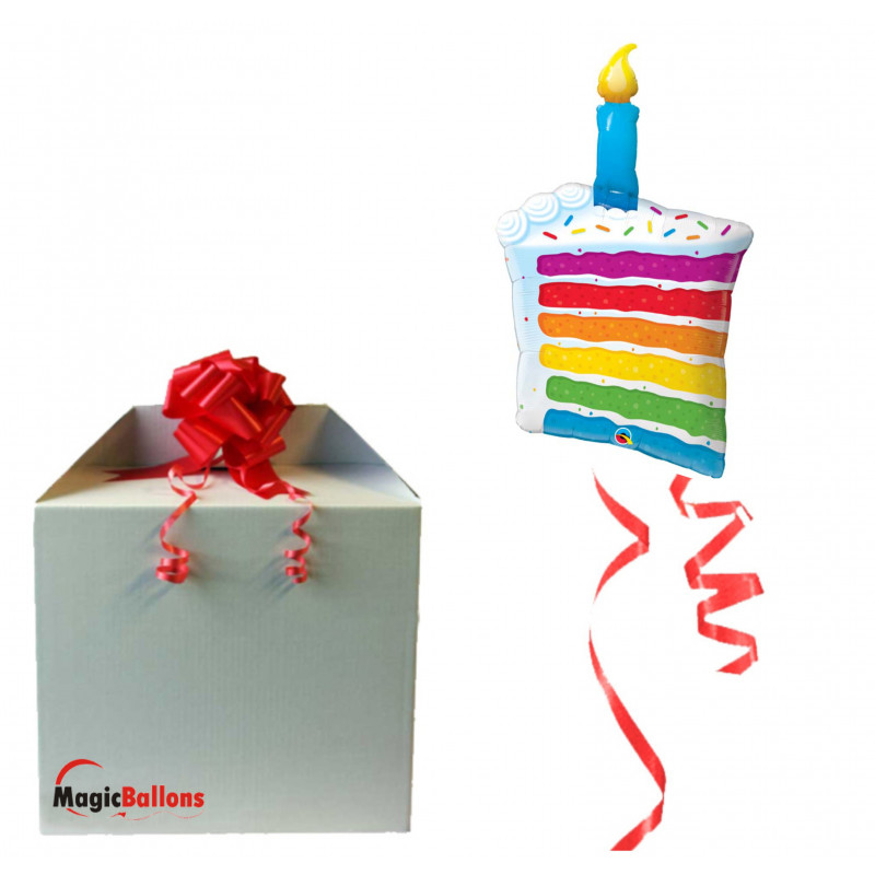 Rainbow Cake & Candle - foil balloon in a package