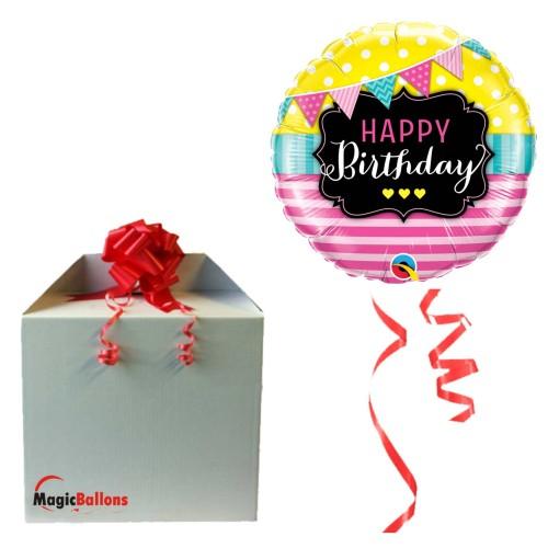 Bday Pennants & Pink Stripes - Folienballon in Paket