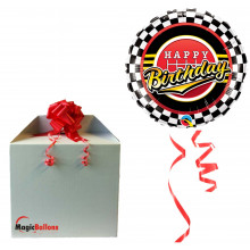 Bday Checked Pattern - Folienballon in Paket