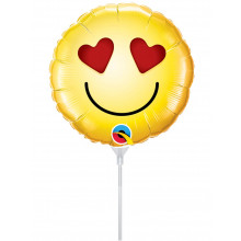 Smiley Love - foil balloon on a stick