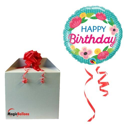 Bday Petite Polka Dots - Folienballon in Paket