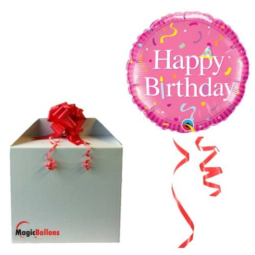 Bday Bday Pink - Folienballon in Paket