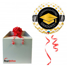 Graduate Gold Chevron Dots - foil balloon in a package