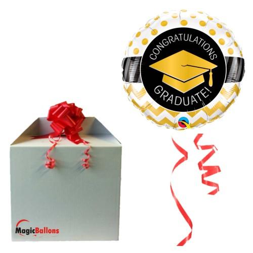 Graduate Gold Chevron Dots - folija balon v paketu