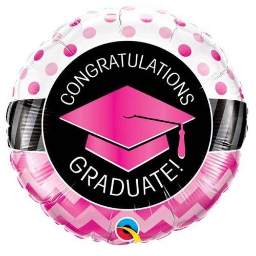 Graduate Pink Chevron Dots - foil balloon