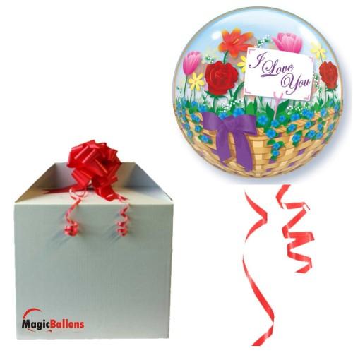 I love You Flower Basket- Helium ballon