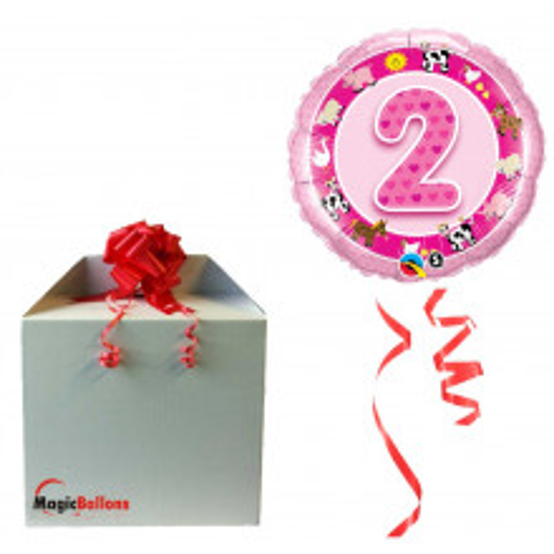 Balloon Age 2 Pink Farm Animals