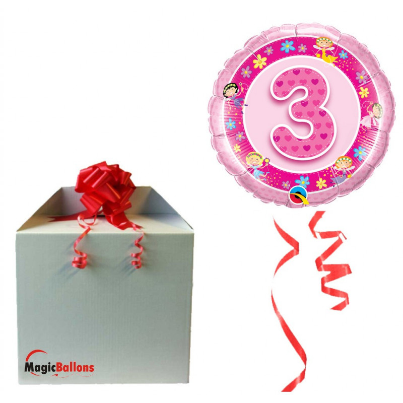 Age 3 Pink Fairies - folija balon v paketu