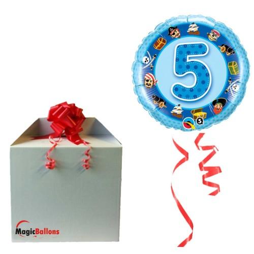 "Ballon  ""Age 5 Blue Pirates ""  m. Helium befüllt"