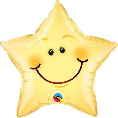Smiley face star - foil balloon