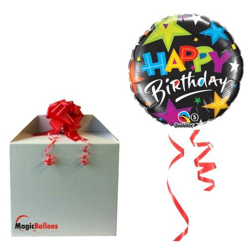 Balloon  Birthday Brilliant Stars Black