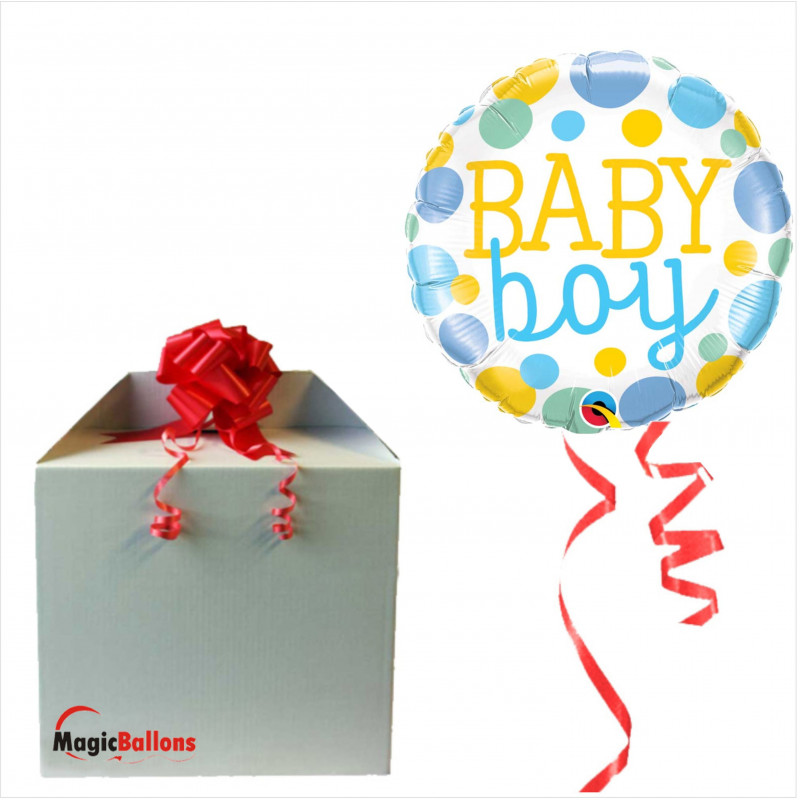 Baby Boy Dots- foil balloon in a package