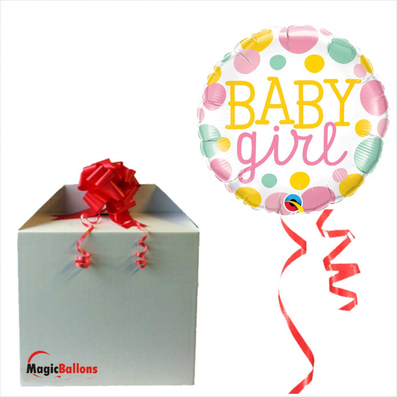 Baby Girl Dots- foil balloon in a package