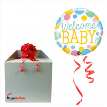 Welcome Baby Dots - Folienballon in Paket