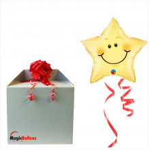 Smiley face star  - Folienballon in Paket