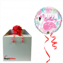 Bday pink flamingo - foil balloon in a package