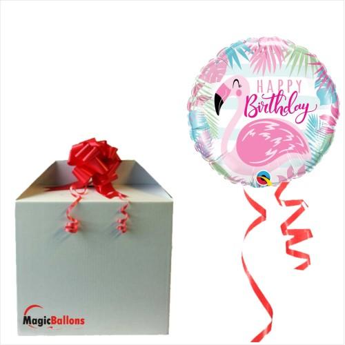 Bday pink flamingo - Folienballon in Paket