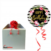 Bday Hibiscus stripes - foil balloon in a package