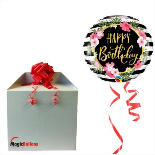 Bday Hibiscus stripes - Folienballon in Paket
