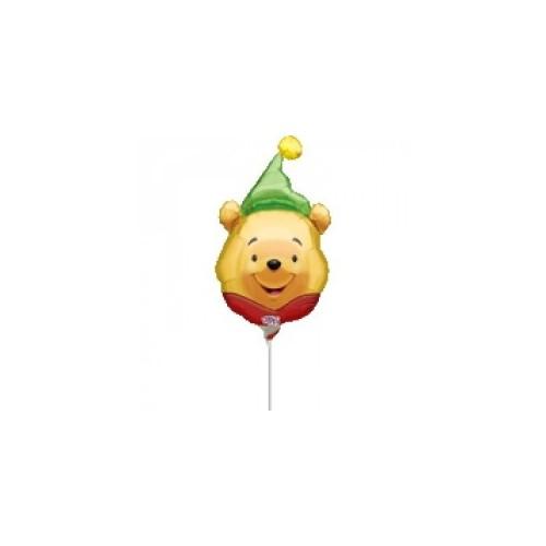 Winnie the pooh hat mini shape- foil balloon on a stick