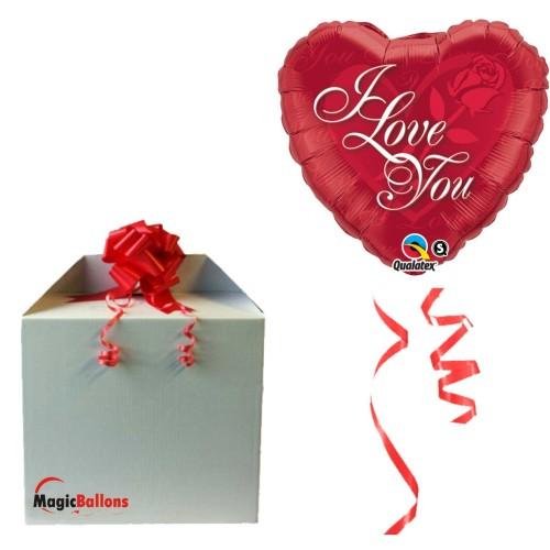 "Ballon  "" I Love You Red Rose ""  m. Helium befüllt"