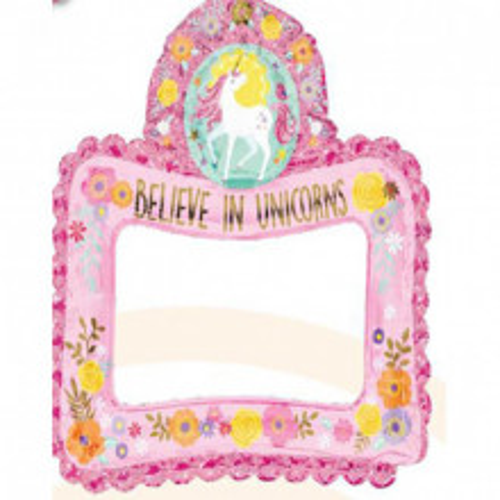 Selfie Frame Magical Unicorn - foil balloon