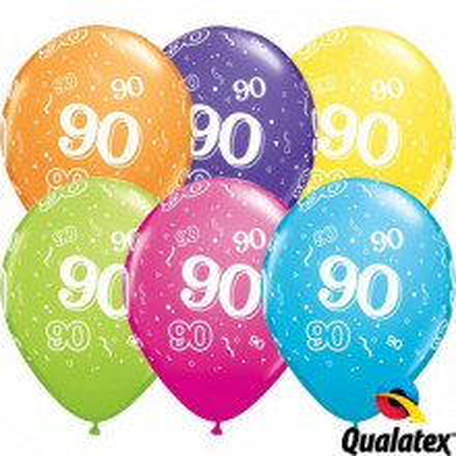 Ballon mit Zahl 90 - tropical