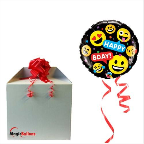 Smileys Happy Bday - Folienballon in Paket