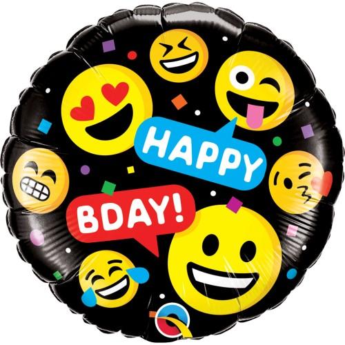 Smileys Happy Bday - foil balloon