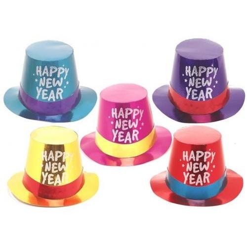 New Year black glitter plastic hat