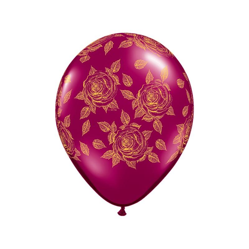 Elegant Roses pearl Burgundy