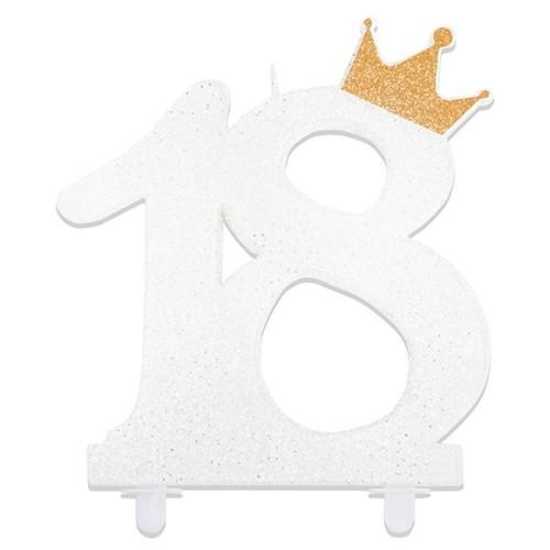 Glitzer Nummer Kerzen 18 mit einer Krone - weiß