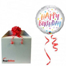 Birthday rainbow dots - foil balloon in a package