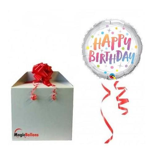 Birthday rainbow dots - Folienballon in Paket