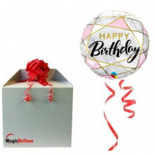 Birthday marble rectangles - Folienballon in Paket