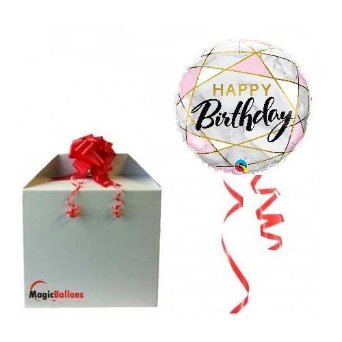 Birthday marble rectangles - folija balon u paketu
