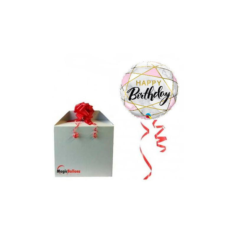 Birthday marble rectangles - foil balloon in a package