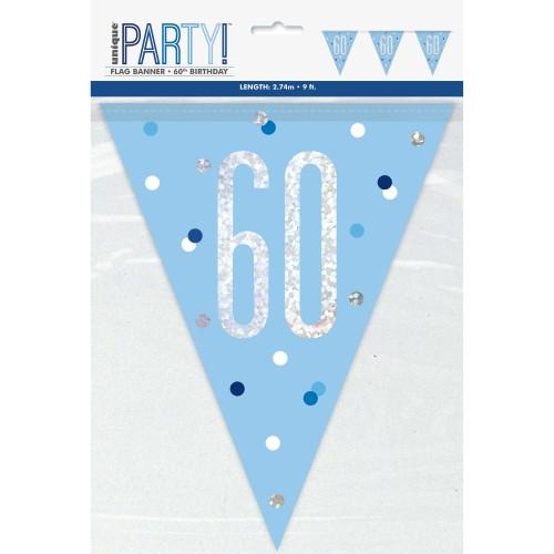 Happy Birthday 60 blue Sparkle flag banner