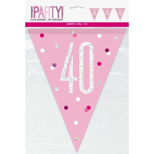 Happy Birthday 40 pink Sparkle flag banner