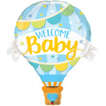 Welcome Baby Blue Balloon - foil balloon in a package