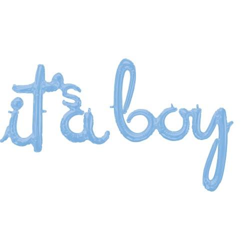 It's a boy pastelno moder napis folija balon